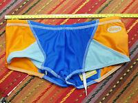 Dietz Men's Blue/orange Box-cut Swimsuit Nylon/spandex - Front Liner - Sm -