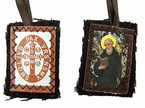 Protection-from-Evil-Saint-Benedict-Medal-Brown-Cloth-Scapular-Necklace-15-Inch