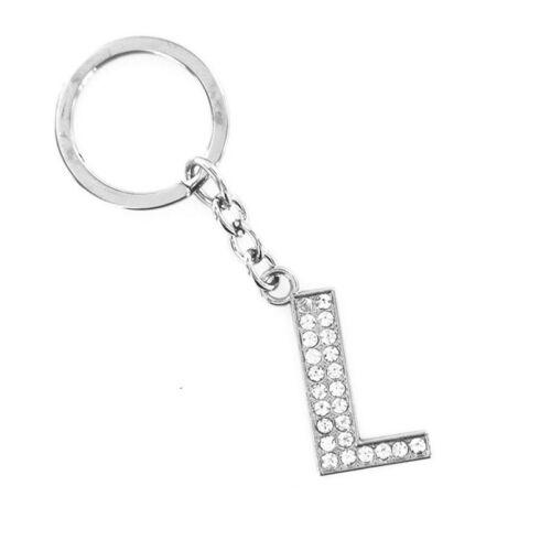 Alphabet Initial Letter A-Z Crystal Rhinestone Keyring Keychain Key Ring Chain