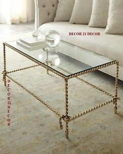DESIGNER ATNIQUED GOLD TWISTED ROPE NEIMAN MARCUS CHOLE COFFEE TABLE HORCHOW