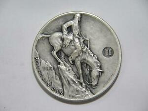MOUNTAIN-MAN-INDIAN-ON-HORSEBACK-ANTIQUE-FINISH-MEDALLIC-ART-SILVER-MEDAL