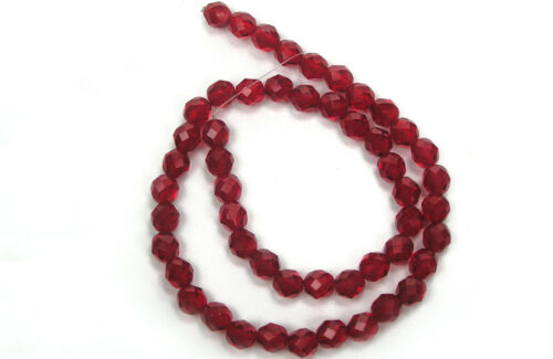 Czech Fire Polished Round Faceted Glass Beads in Siam color dark red