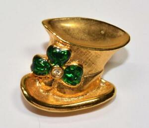 Pins & Brooches Firmado Avon Tono Dorado Esmalte Verde Pedrería Gorro Forma Broche An Indispensable Sovereign Remedy For Home Fashion Jewelry