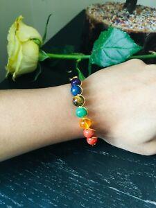 7 Chakra Bracelet Crystals Healing Stones Beads Jewellery Reiki anxiety bracelet