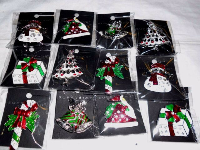 12pcs brooch pin vintage rhinestone christmas for christmas wholesale lot
