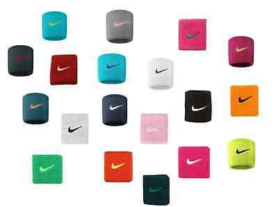 Nike Swoosh Wrist Bands 1 Pair Wristbands Tennis Badminton Sports - All Colours