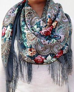 Original-Pavlovo-Posad-russe-chale-100-Laine-Soie-Frange-Echarpe-femme-foulard