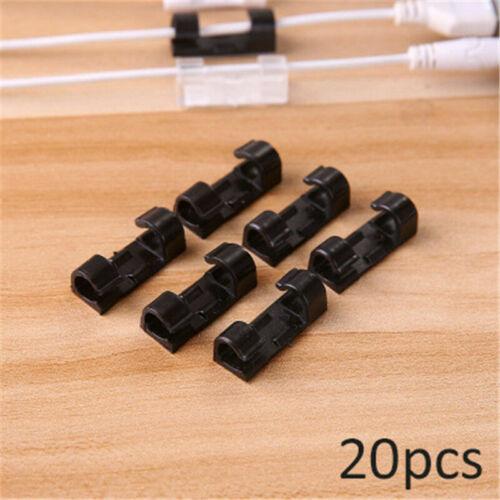 20X Kabelklemme Selbstklebend Kabelbinder Kabelhalter Wand Kabel Clip Organizer