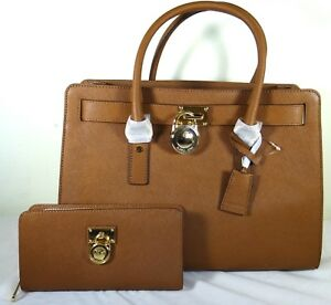 ab5d909cd706 Image is loading Michael-Kors-Hamilton-Luggage-Leather-Large-East-West-