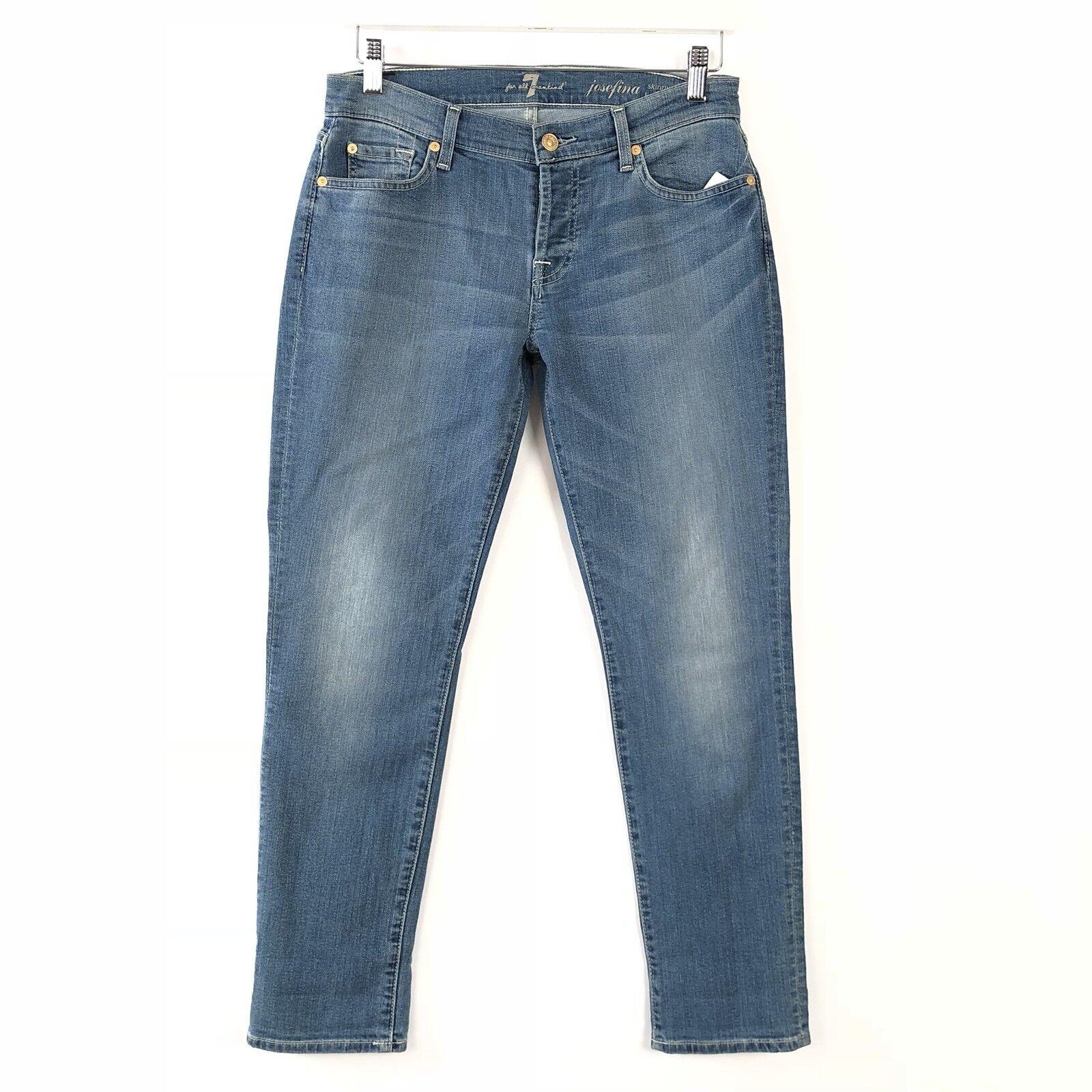 7 Pour All Mankind Neuf avec étiquettes 225 25   Josefina Skinny Boyfriend Jeans Medium X-Soft Wash