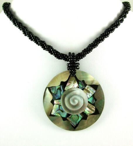 Natural Abalone Coquille de Nacre Pendentif Perles Collier Femmes Bijoux DA229