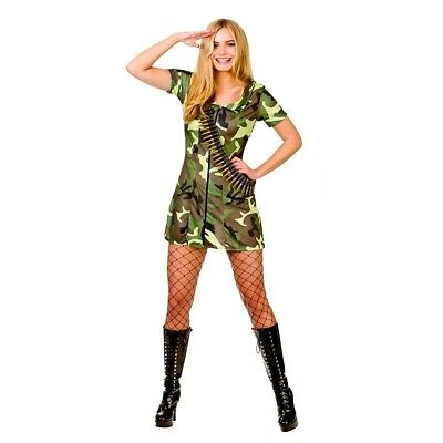 COMBAT CADET FANCY DRESS COSTUME MILITARY ARMY GIRL WOMAN ADULT *SALE*