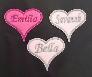 Personalised-Embroidered-Heart-Name-Badge-Patch-Iron-on-or-sew