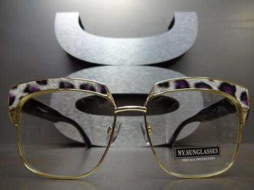 Classico Vintage Retrò Gatto Occhio Stile Lenti Trasparenti Occhiali Oro /&
