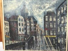 """21x25"""" MID CENTURY Amsterdam City Architecture Canal Scene Oil Painting"""