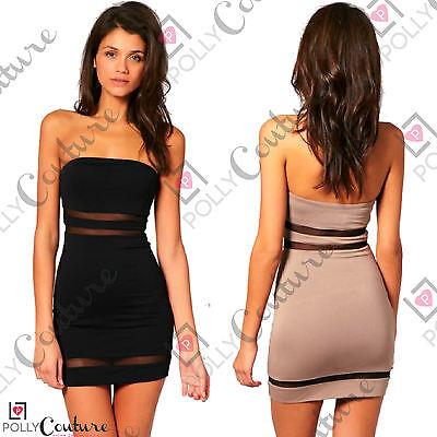 Womens Celeb Mesh Bandeau Summer Party Bodycon Short Black Nude Strapless Dress