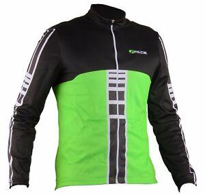 Maglia-manica-lunga-ciclismo-termica-traspirante-giacca-leggera-verde-fluo-bici