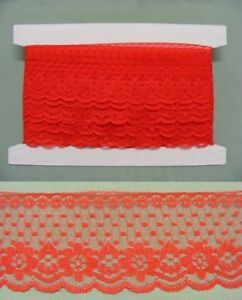 Flat Lace Red (2231) 60mm wide x 7.5 mts