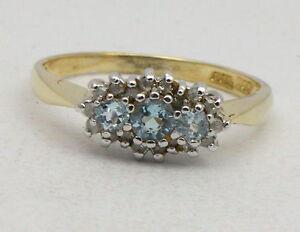 BJC-9ct-oro-giallo-topazio-blu-amp-diamante-a-grappolo-MISURA-P