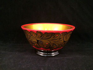 Gold-Red-Black-Footed-Bowl-Made-in-USSR-4-034-Diameter-2-034-Depth