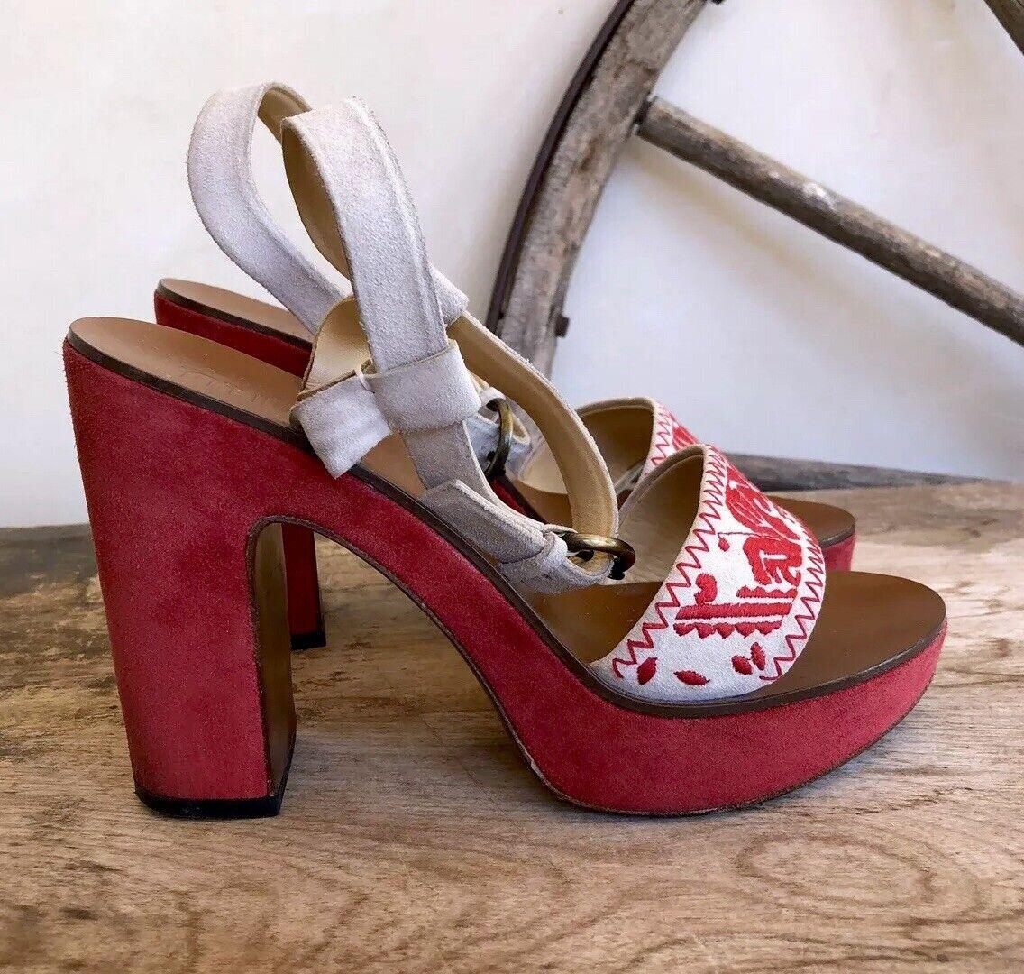 MIU MIU PRADA Red Southwestern Embroidered Suede Leather Platform Heels