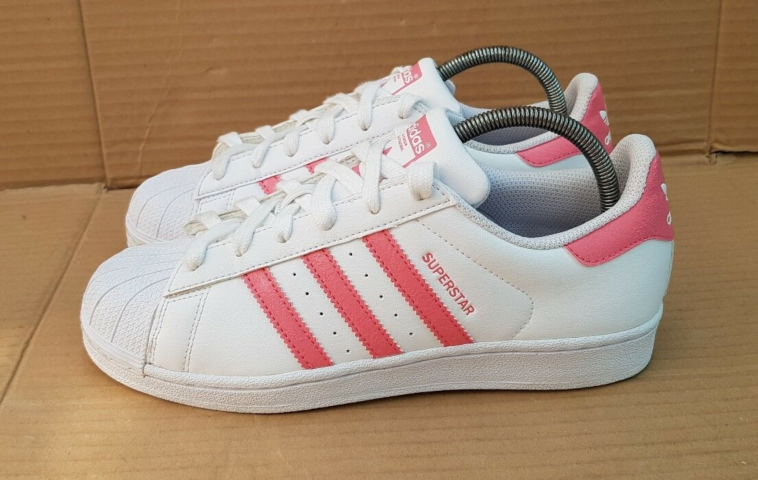 ADIDAS SUPERSTAR SHELL TOE TRAINERS TRAINERS TRAINERS Weiß & Rosa Größe 5.5 UK 2018 LATEST BOXED 193540