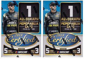 2x-2018-Panini-Certified-Racing-sealed-blaster-box-3-packs-5-NASCAR-cards-1-hit