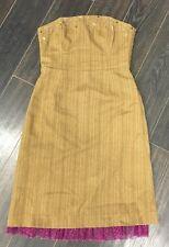 TIBI ANTHROPOLOGIE BROWN PURPLE MULTI STRAPLESS CORSET TOP STRIPED DRESS SIZE 2