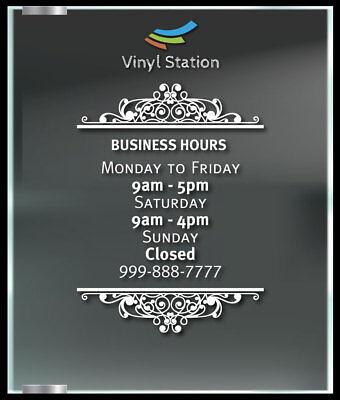 Ornament Decorative Custom Business Hours Decal Window Sticker Sign Door