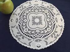"""Antique White Combination Schiffli Applique Net Lace Bridal 12"""" Round Doily"""