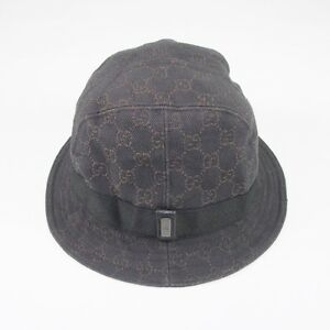 GUCCI Brown GG Logo on Black With Band Fedora Hat Size M  1ae3c0a3c9e8