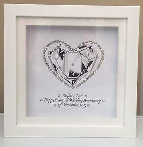 Image Is Loading PERSONALISED BOX FRAME DIAMOND WEDDING ANNIVERSARY GIFT PRINT