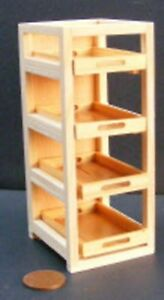 1:12 Scale Natural Finish Wooden Bakers Rack With 4 BK2 Trays Tumdee Dolls House