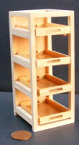 Échelle 1:12 finition naturelle en bois Bakers rack avec 4 BK2 plateaux tumdee maison de poupées