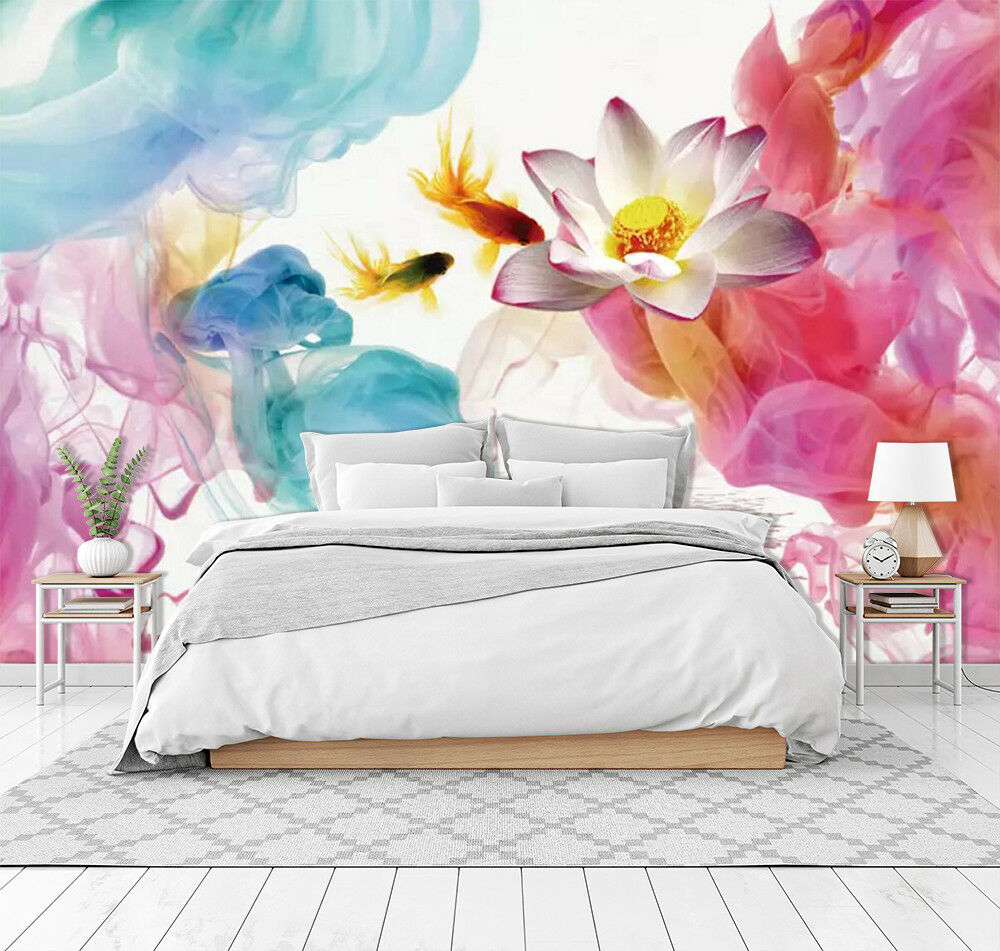 3D Lotus Fish 949 Wall Paper Exclusive MXY Wallpaper Mural Decal Indoor Wall AJ