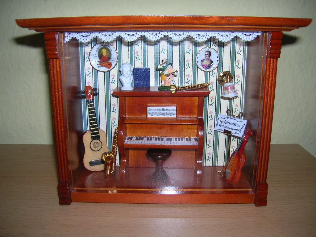 Reutter Porzellan Cuarto Música Room Picturebox Mural Casa de Muñecas 1 12
