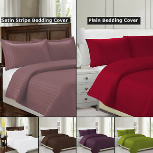 Single-Double-Size-Plain-Satin-Duvet-Bed-Cover-Quilt-Bedding-Set-w-Pillowcase