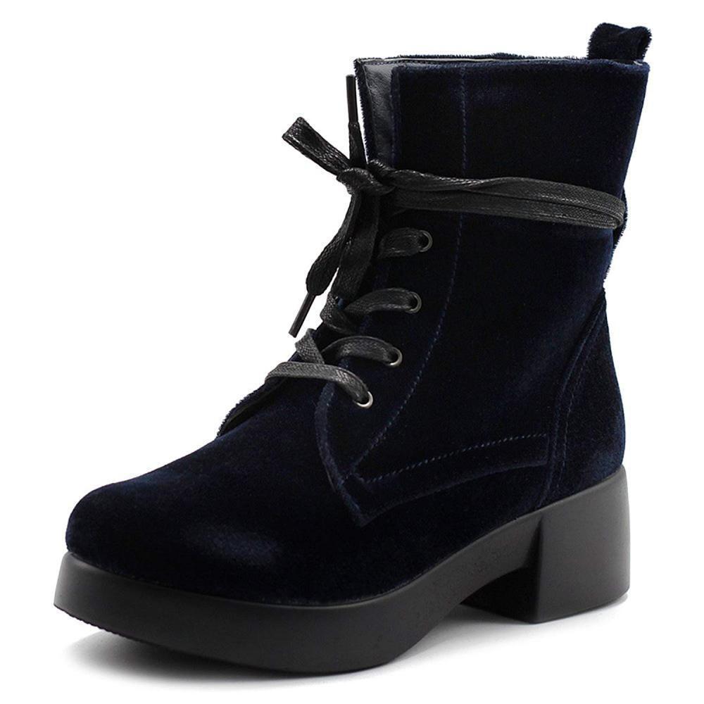 Ollio Para mujeres Zapatos al De Terciopelo Bota al Zapatos tobillo con Cordones de botas de combate TWB0109 f25200