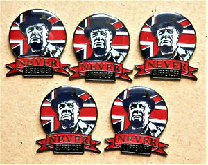 5 x NEVER SURRENDER WINSTON CHURCHILL ENAMEL PIN BADGE UNION JACK FLAG VETERAN
