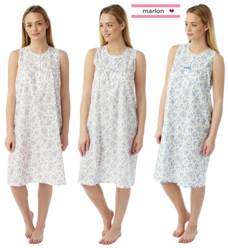 Orderly New Ladies Marlon Poly Cotton Sleeveless Nightie Nightdress Mn16 Size 10-30 Spare No Cost At Any Cost