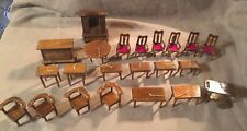 Lot of Vintage Miniature Wood Dollhouse Furniture Ornament Small Scale