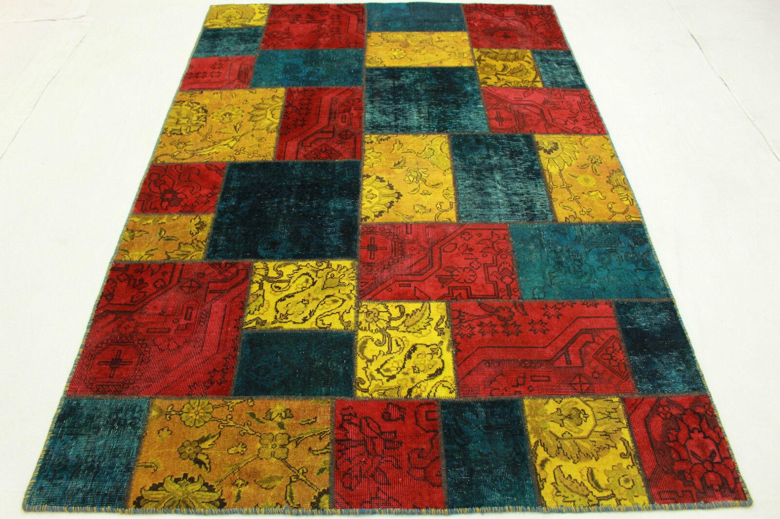 Patchwork Orient alfombra vintage vivo 240x170 turquesa rojo amarillo look usado 1996