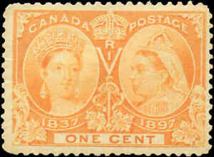 1897-Mint-H-Canada-F-Scott-51-1c-Diamond-Jubilee-Issue-Stamp