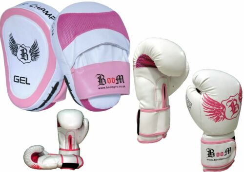Boom Pro Ladies Boxing Gloves Curved Focus Pads Hook /& Jab Mitts Kick Punch Bag