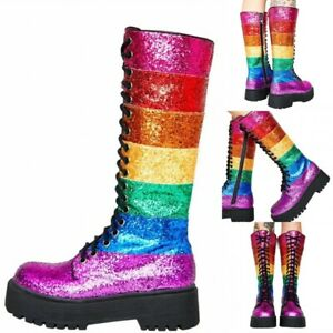 Punk-Women-039-s-Block-Heels-Rainbow-Color-Knee-High-Boots-Gothic-Chunk-Knight-Shoes