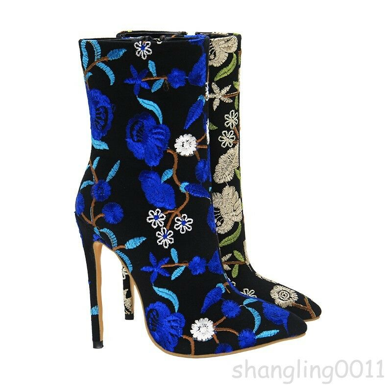 Luxury Ethnic Womens Ankle Boots Floral High Heels Stiletto Pointy Toe shoes