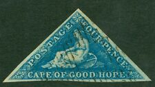 SG 2 Cape of Good Hope 4d blue on deeply blued paper. Fine used, full margins..