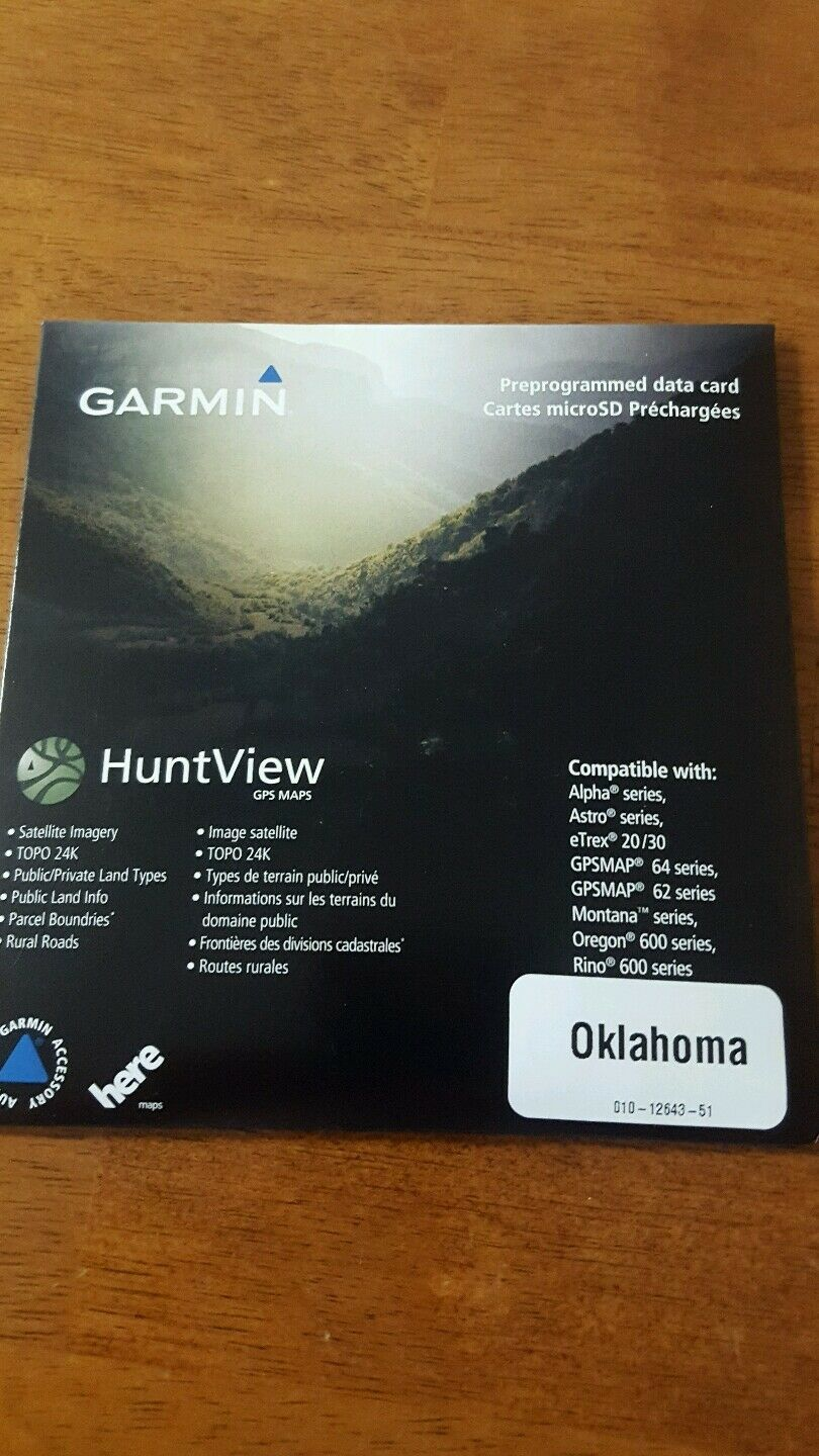 NEW Garmin huntview use map of Oklahoma  for use huntview with garmin gps devices daf4b2