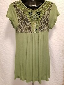 Hippie-Rose-Green-Tunic-Short-Sleeve-Knit-Top-Crochet-Lace-Detail-Sizes-S-L-XL