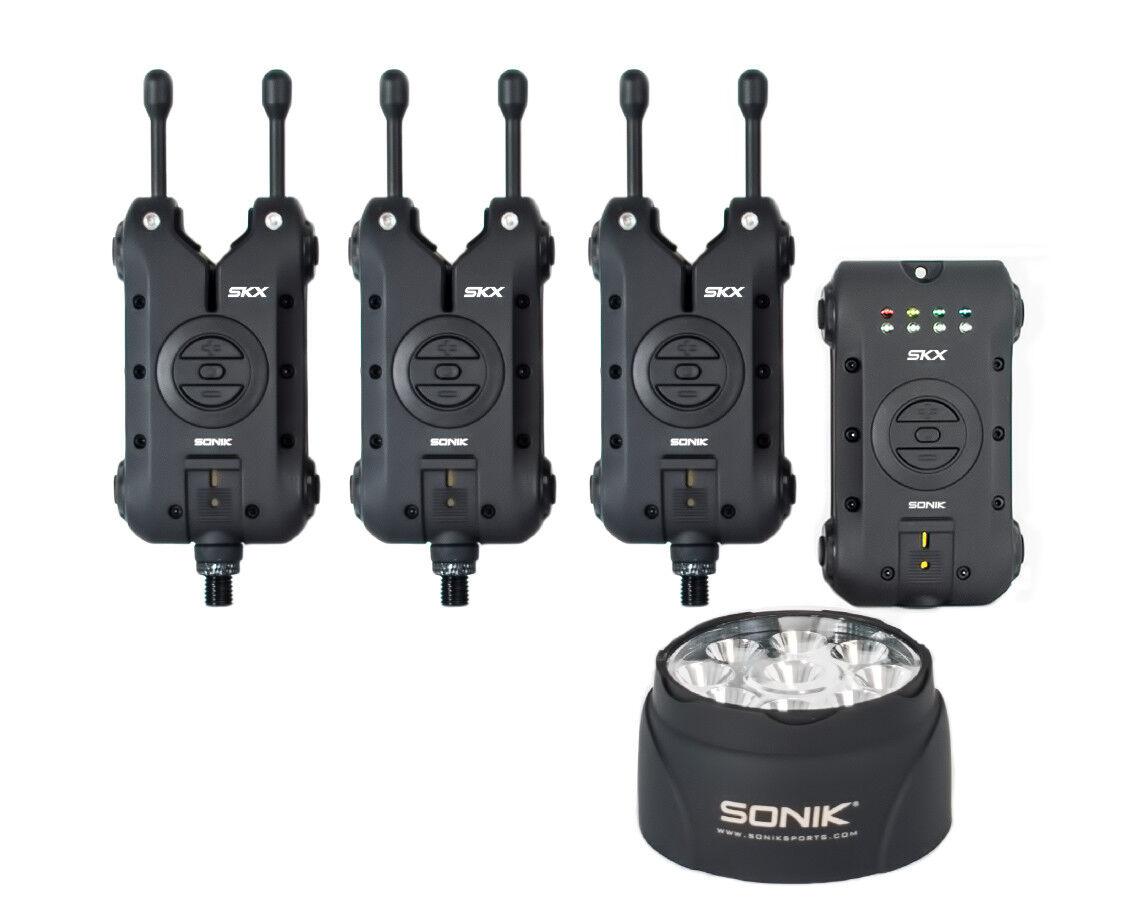 Sonik SKX alarma 3 conjunto de caña y Receptor + Gratis Vivac luz nuevo morder la alarma 3+1